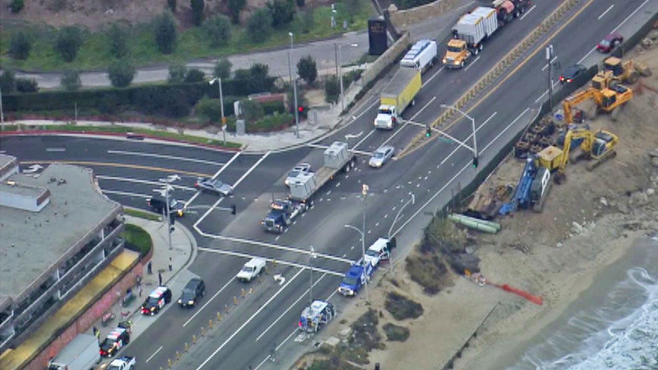 Both directions of Pacific Coast Highway in Malibu were closed for about two hours after a vehicle struck a bicyclist on Wednesday, Oct. 2, 2013.