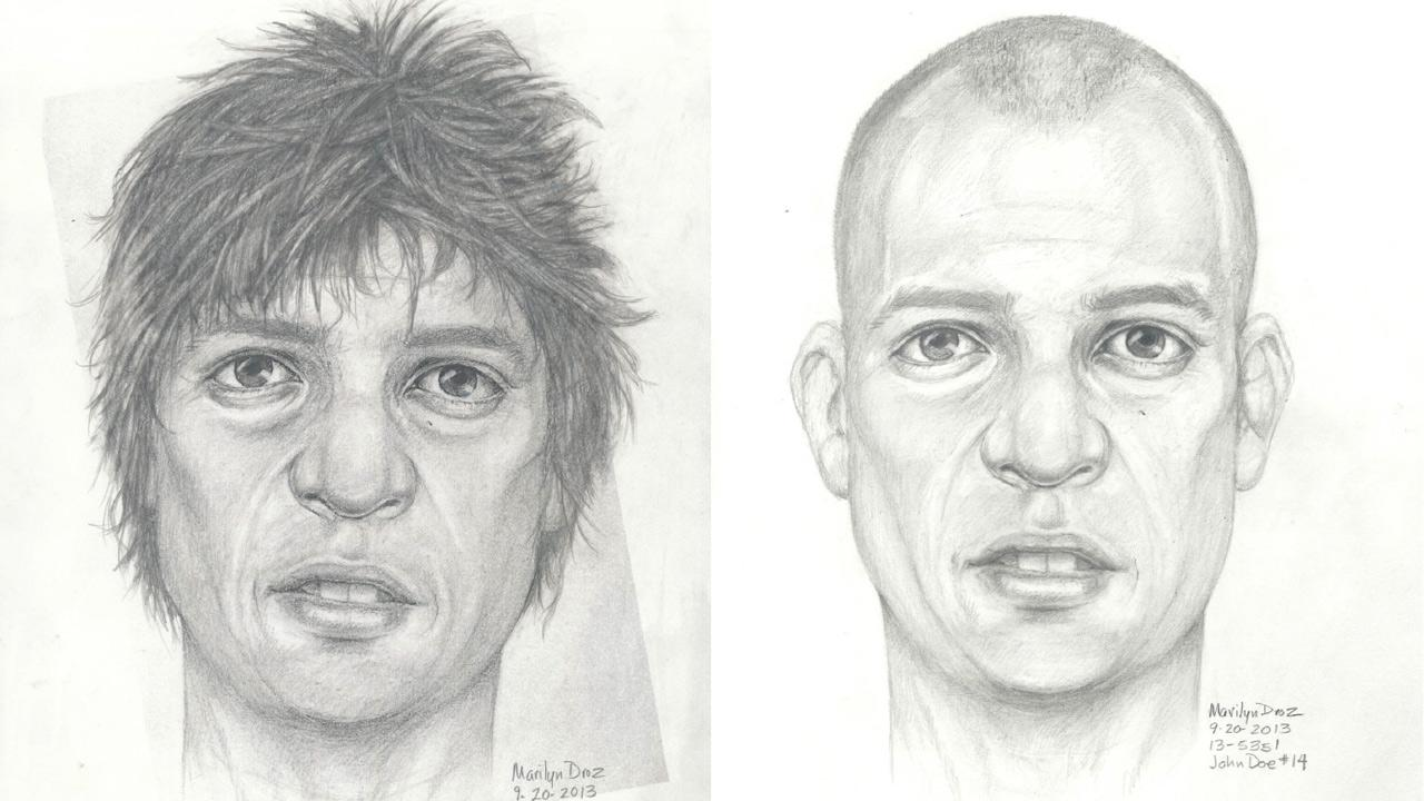 The Los Angeles County Coroners Office released these sketches for help identifying human remains found in Montebello.