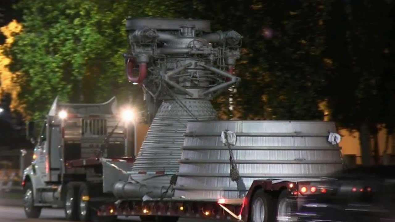 An F-1 rocket engine was moved from an Aerojet Rocketdyne facility in Canoga Park to a second facility in Chatsworth Thursday, Oct. 3, 2013.