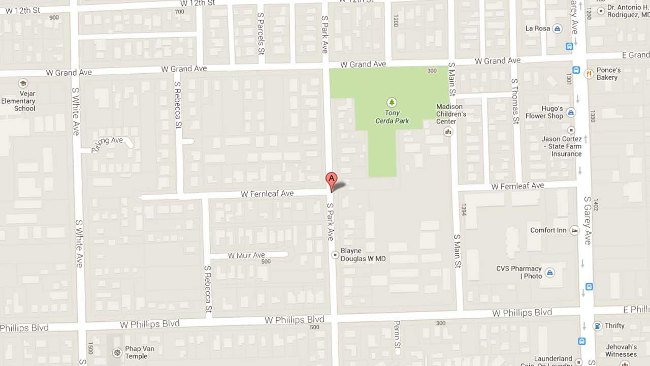 A map indicates the area near the 1400 block of South Park Avenue in Pomona where police responded to reports of a stabbing on Saturday, Oct. 5, 2013.