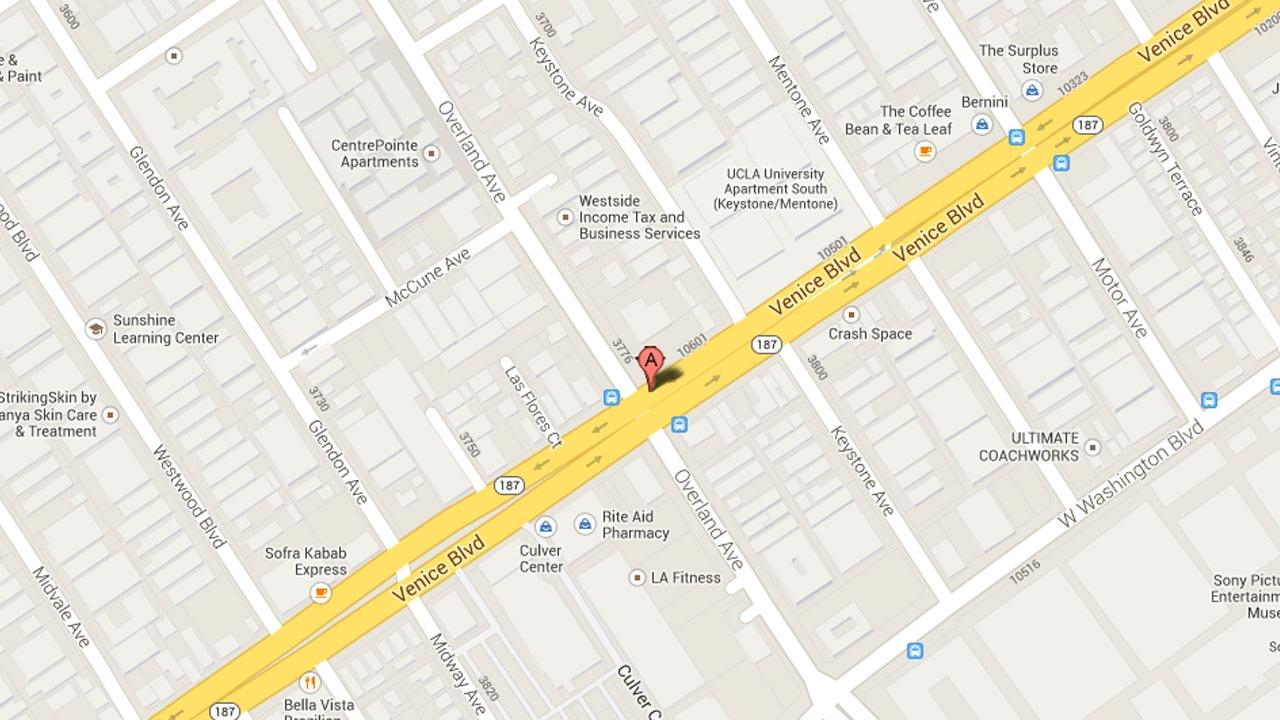 A map indicates the area near an apartment in the 3800 block of Overland Avenue in Los Angeles where Los Angeles police found bomb-making materials.