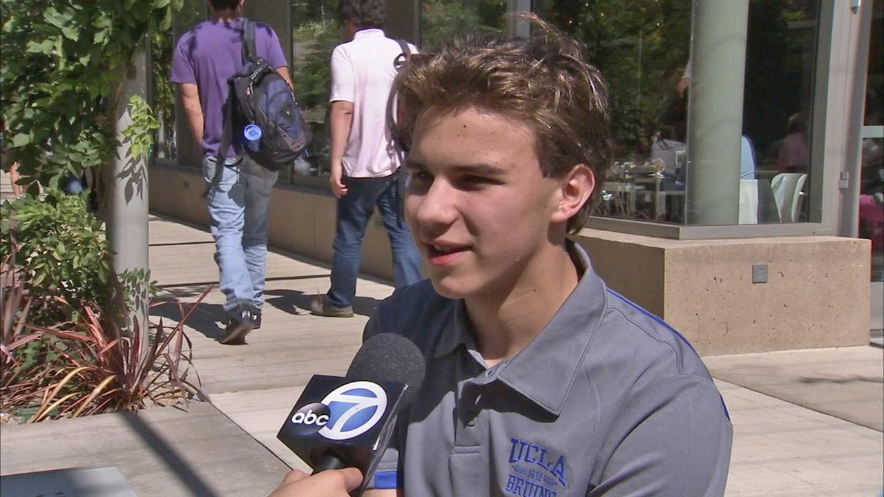 Luke Harmon-Vellotti talks to Eyewitness New about life as a 14-year-old freshman at University of California, Los Angeles.