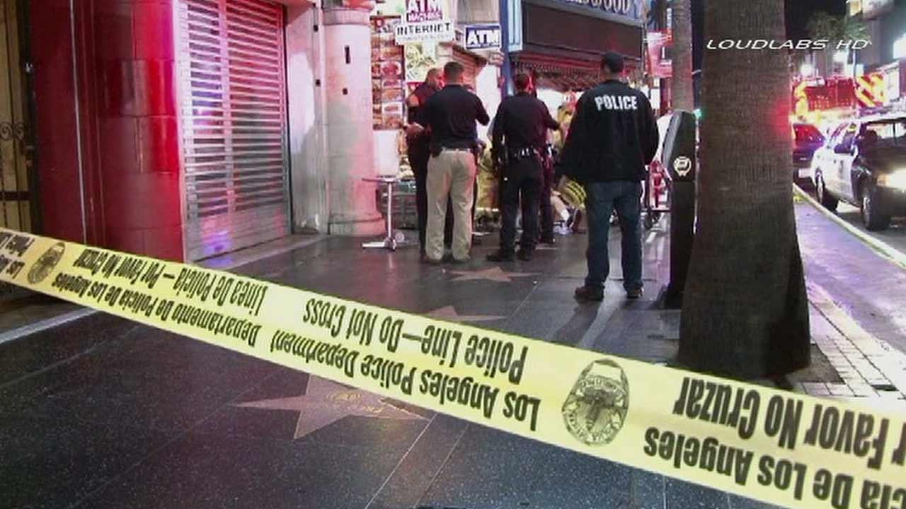 An investigation is underway after two men were stabbed during a group fight in the 6700 block of Hollywood Boulevard in Hollywood on Monday, Sept. 2, 2013.
