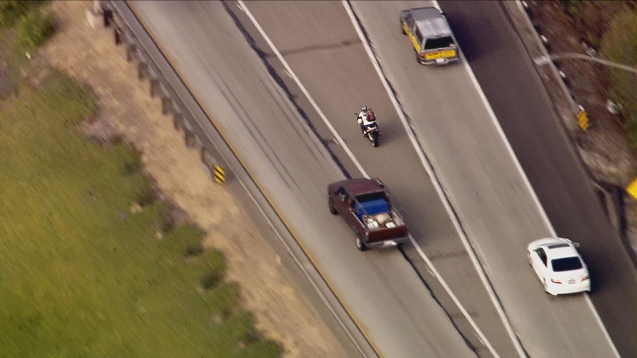 Police were in high-speed chase of a motorcyclist from Irvine into the Bellflower area of Los Angeles County Thursday, October 24, 2013.