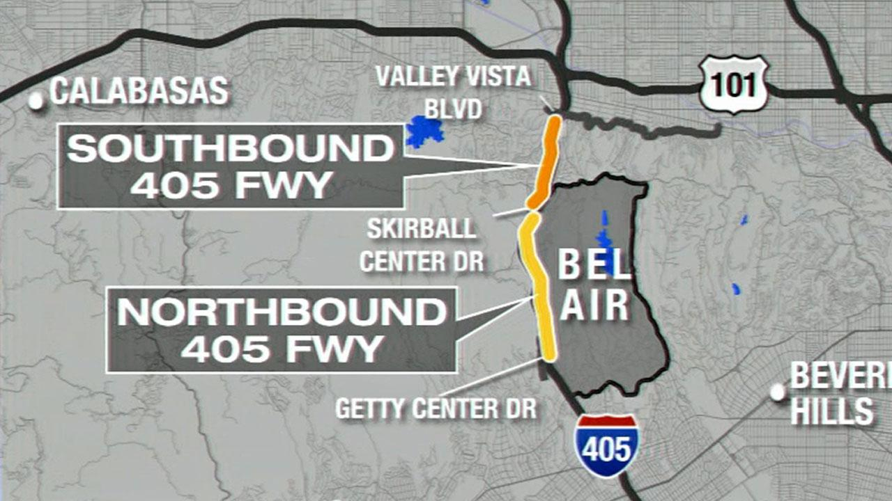 Sepulveda Pass Fire Map.405 Freeway To Be Closed Through Sepulveda Pass Overnight Saturday