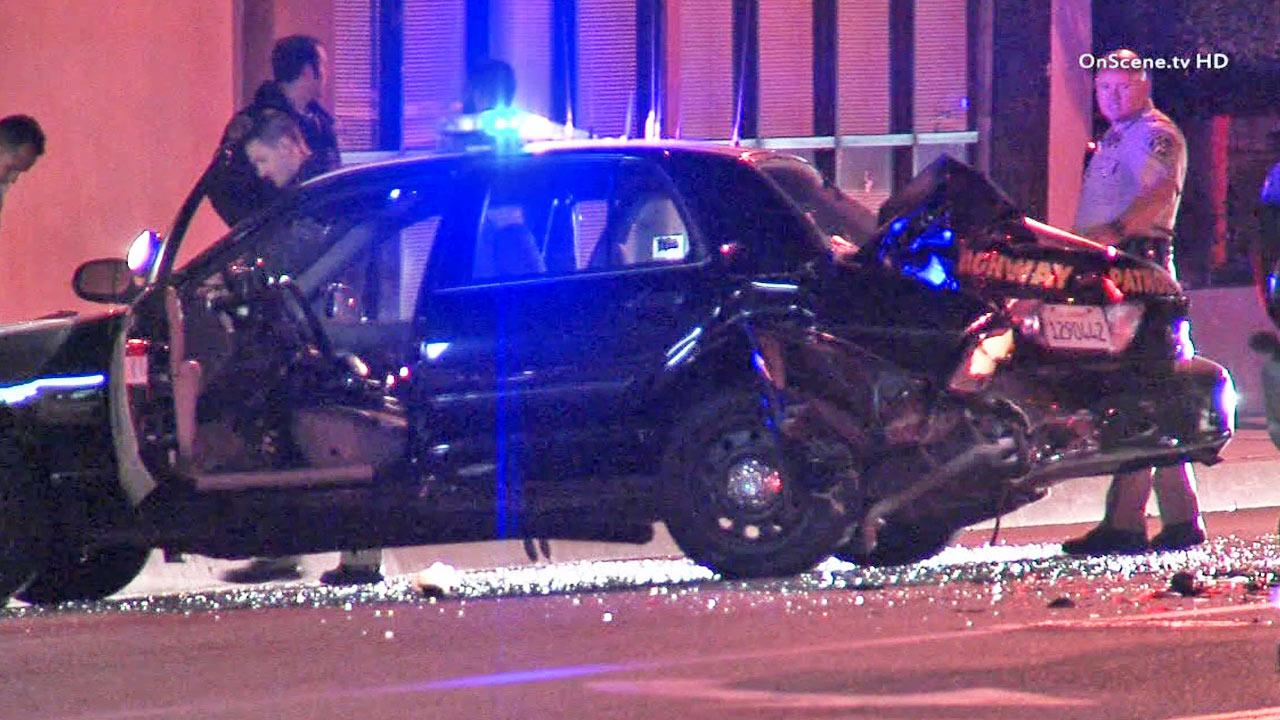 A California Highway Patrol cruiser was struck by a suspected drunk driver near Inglewood Avenue and the 405 Freeway in Lawndale on Wednesday, Nov. 6, 2013.