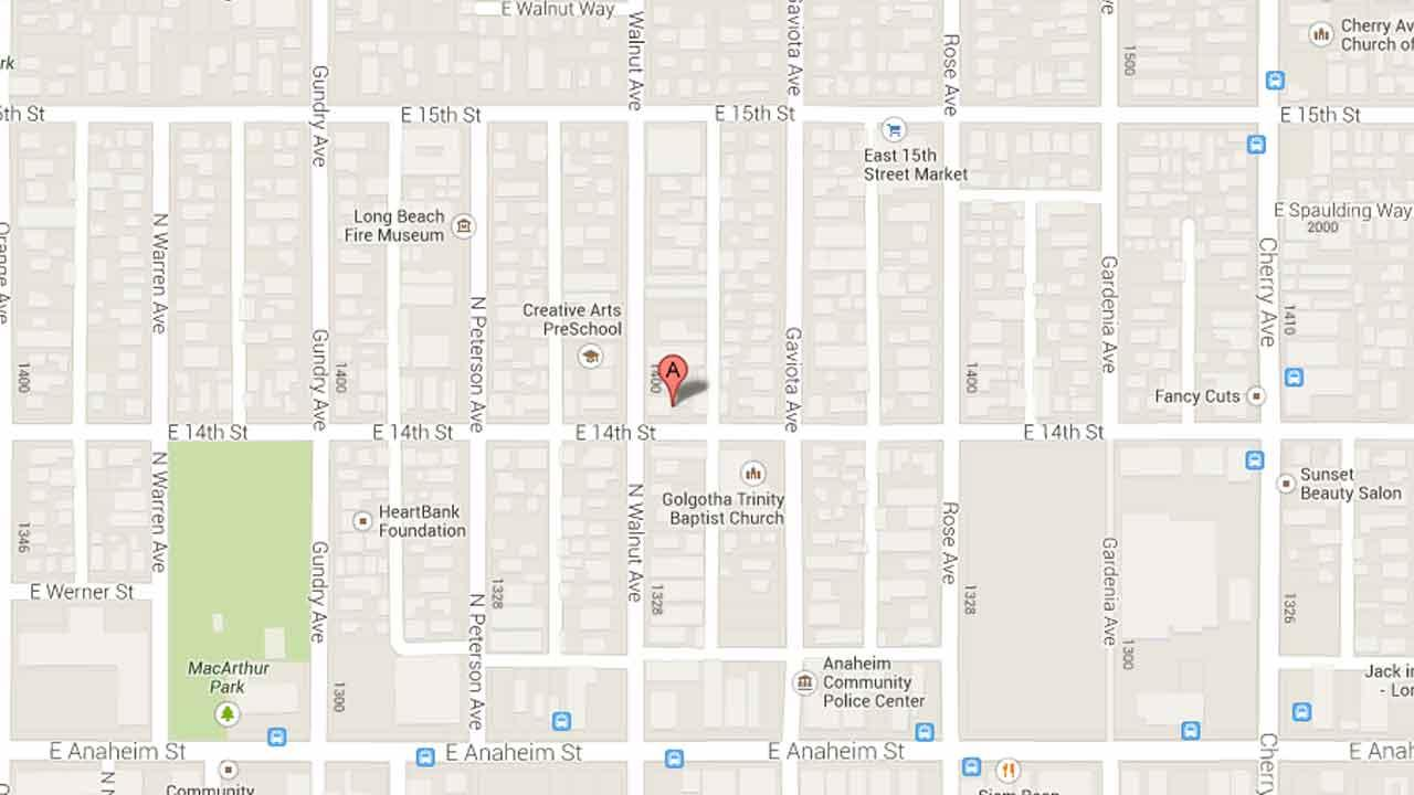A map indicates the area near the 1400 block of Walnut Avenue in Long Beach where a worker was buried to his waist in mud Saturday, Nov. 9, 2013.