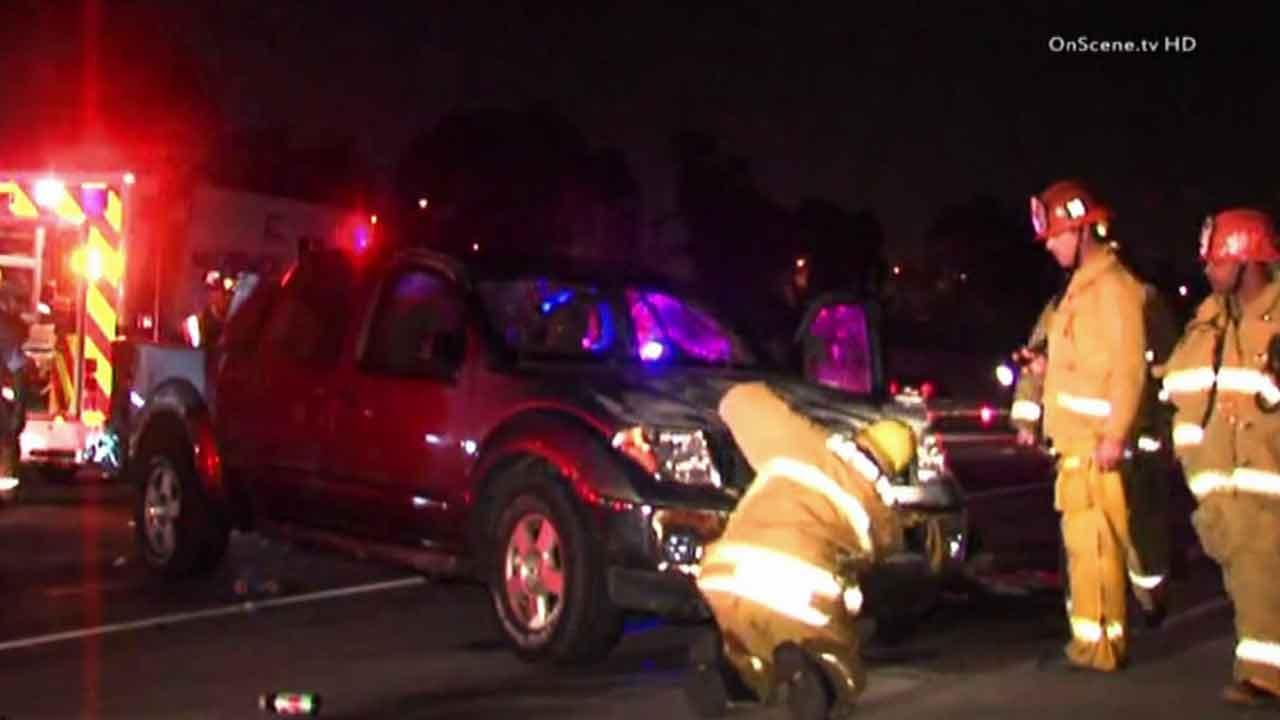 Authorities respond to a hit-and-run crash on the westbound 105 Freeway near Crenshaw Boulevard in Hawthorne Sunday, Nov. 10, 2013.
