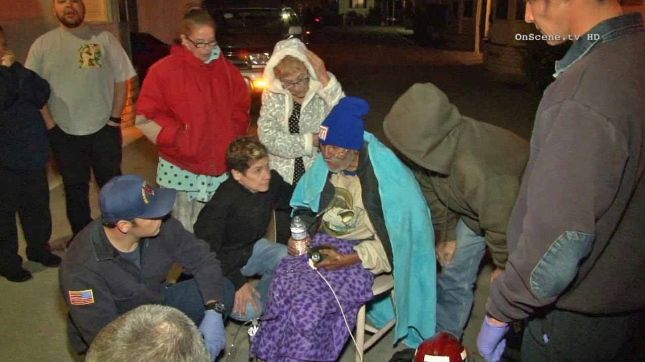 An 87-year-old man, seen in this photo, was rescued by a brave neighbor when his mobile home went up in flames in Westminster on Friday, Dec. 7, 2013.