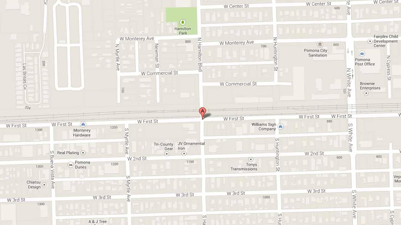 A map indicates the area near the intersection of Hamilton Boulevard and First Street in Pomona where Juan Cisneros was fatally shot on Wednesday, Nov. 27, 2013.