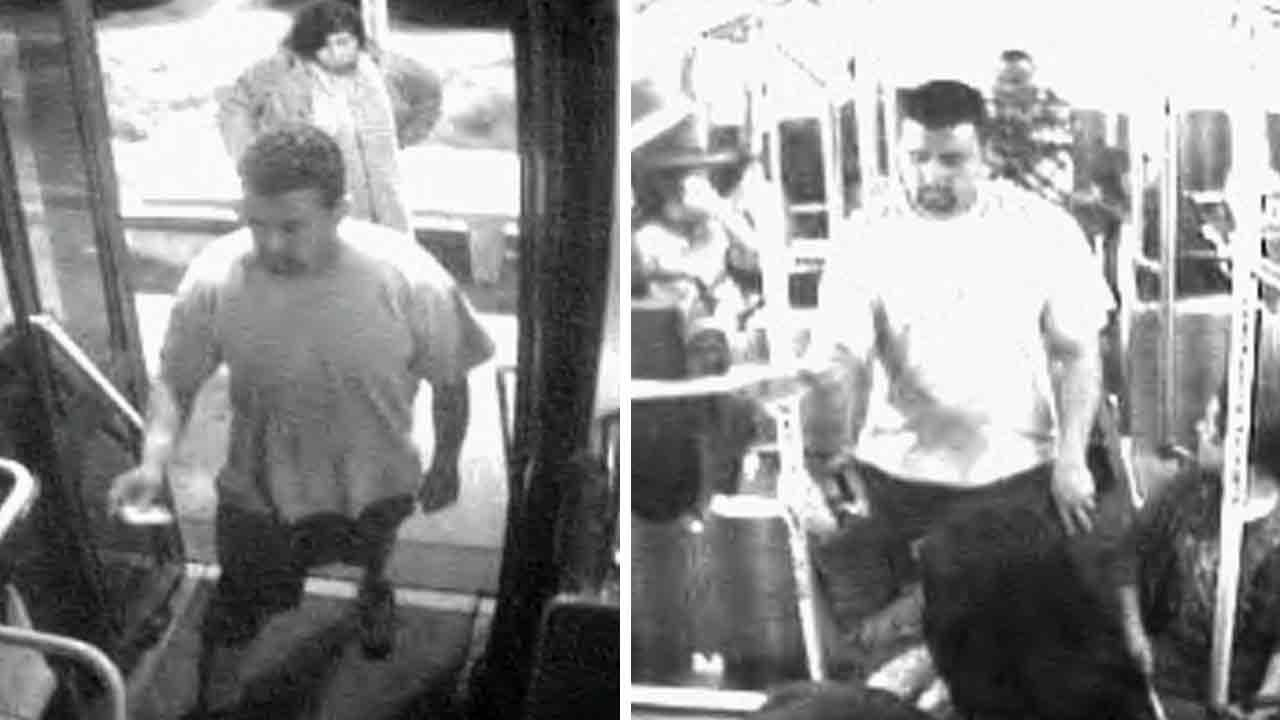 The Los Angeles County Sheriffs Department has released surveillance photos of a man suspected of stabbing another man in an apparently unprovoked attack on a bus in Monterey Park Saturday, Nov. 3, 2013.