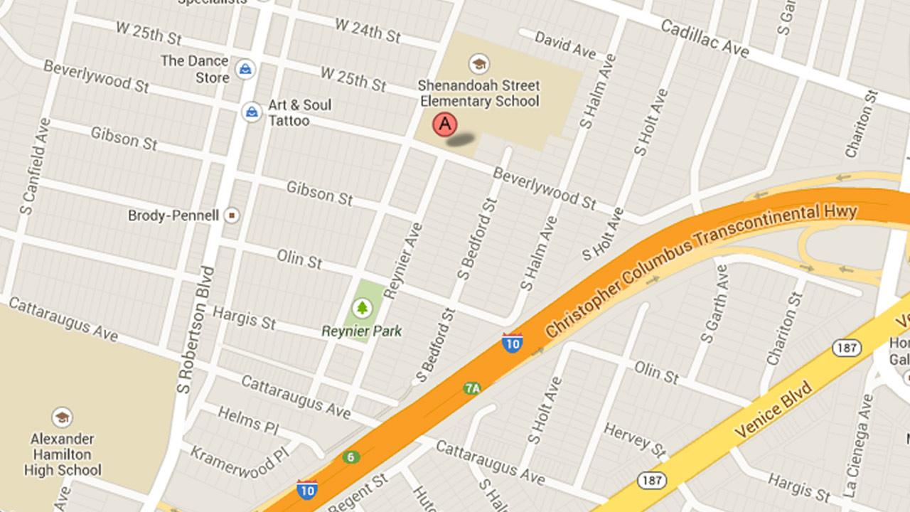 A map shows the area where a mans body was found inside a trash container in Los Angeles on Sunday, Dec. 22, 2013.