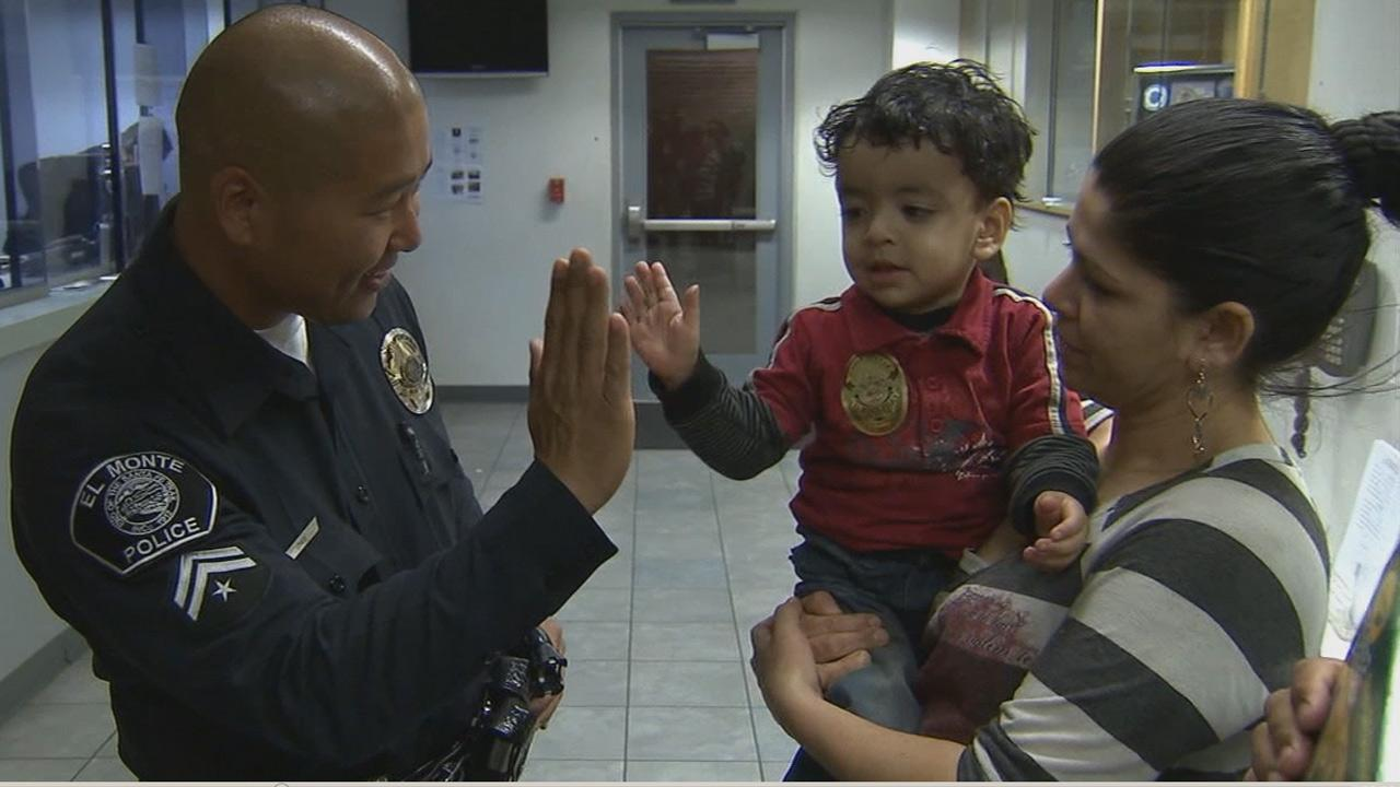 Two El Monte police officers are being credited with saving the life of a 2-year-old boy who was choking on a piece of candy.