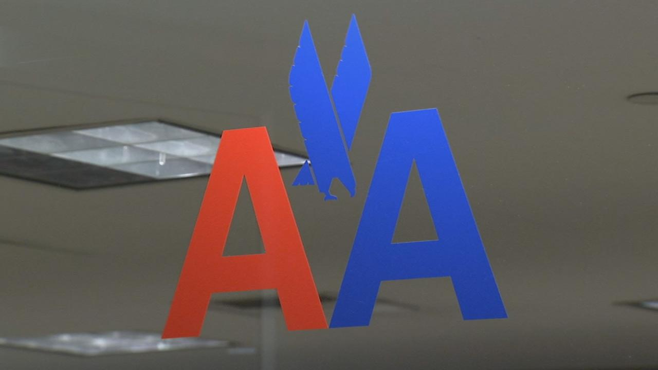 An American Airlines logo is seen on Monday, Dec. 22, 2013.