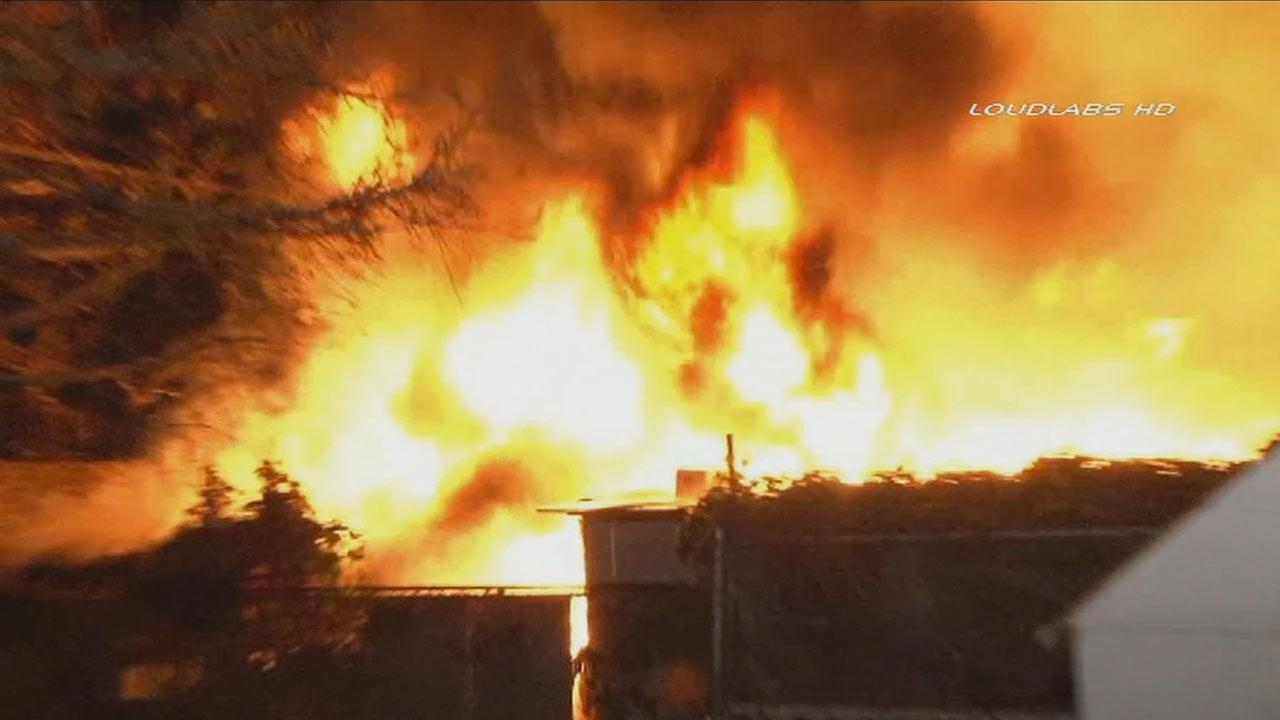 A fire broke out Tuesday, Dec. 24, 2013, in a shed at a home on Denver and Rosecrans avenues.