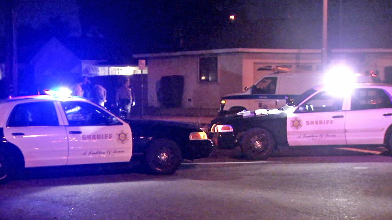 Sheriffs patrol vehicles are shown at the scene of a deadly hit-and-run crash at Greendale Avenue and Marshall Street in Rosemead on Sunday, Dec. 29, 2013.