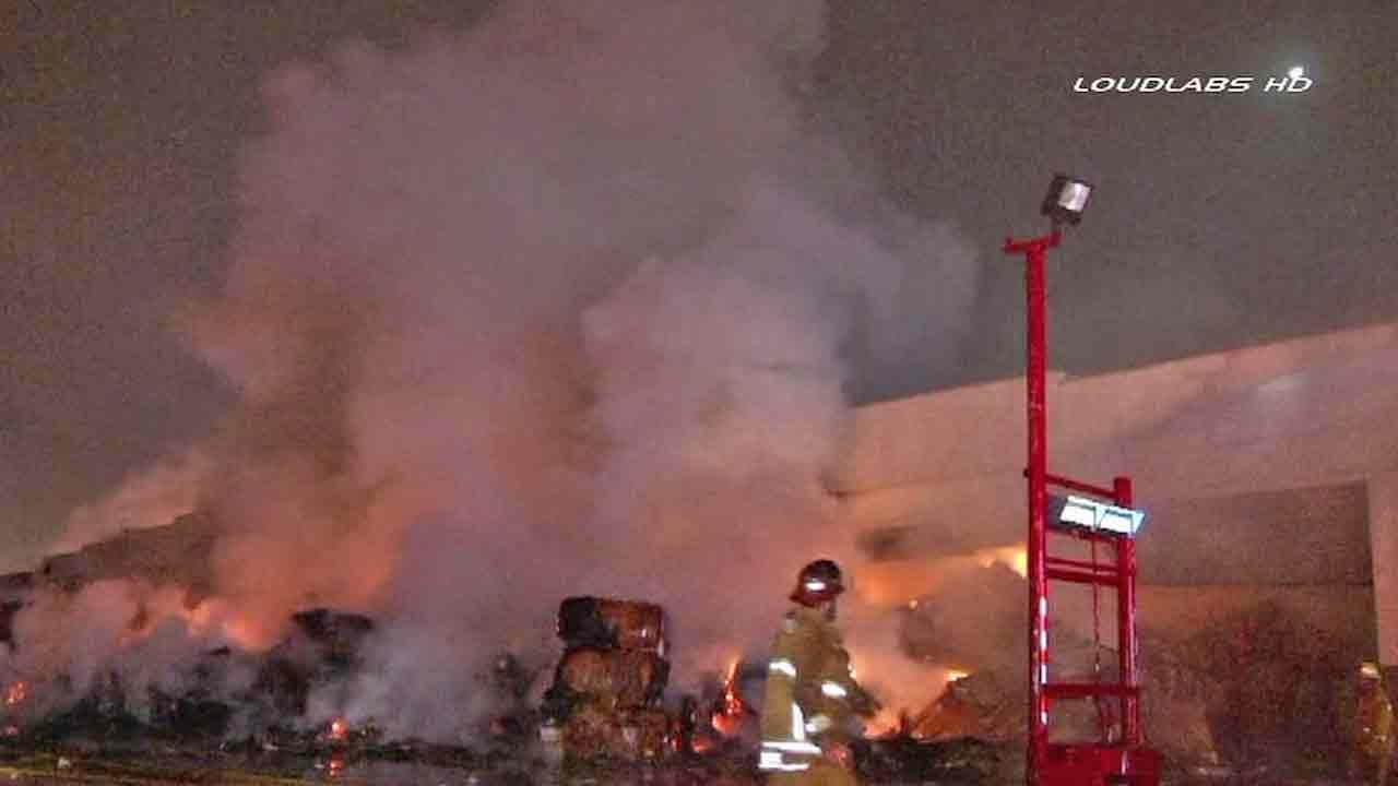 A paper recycling plant on the 2800 block of Vail Avenue in Commerce erupted in flames Sunday, Jan. 12, 2013.