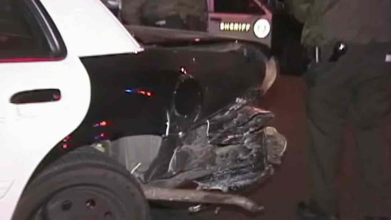 A Palmdale deputy was hospitalized after being struck by a suspected drunk driver at a red light near the intersection of West Avenue R and 47th Street East Monday, Jan. 13, 2014.