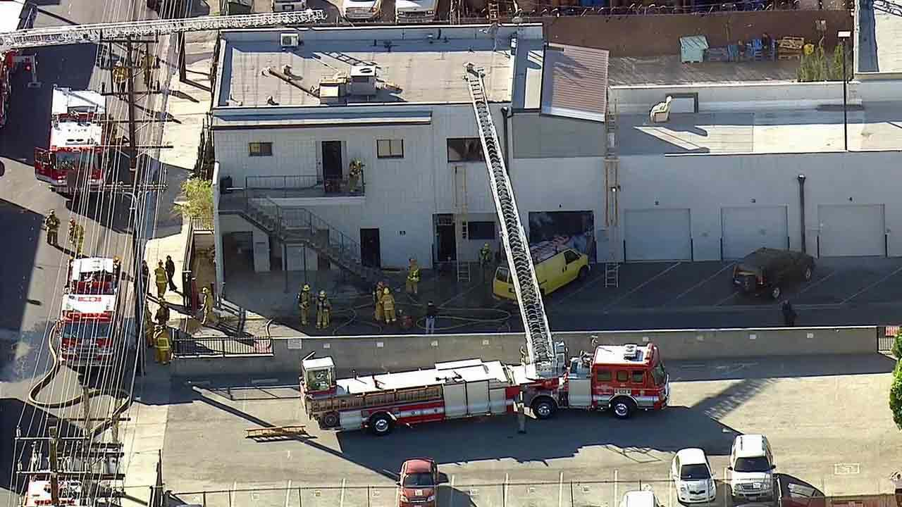Firefighters uncovered a marijuana-growing operation after containing a fire at a business on the 7300 block of North Fulton Avenue in North Hollywood Monday, Jan. 13, 2014.