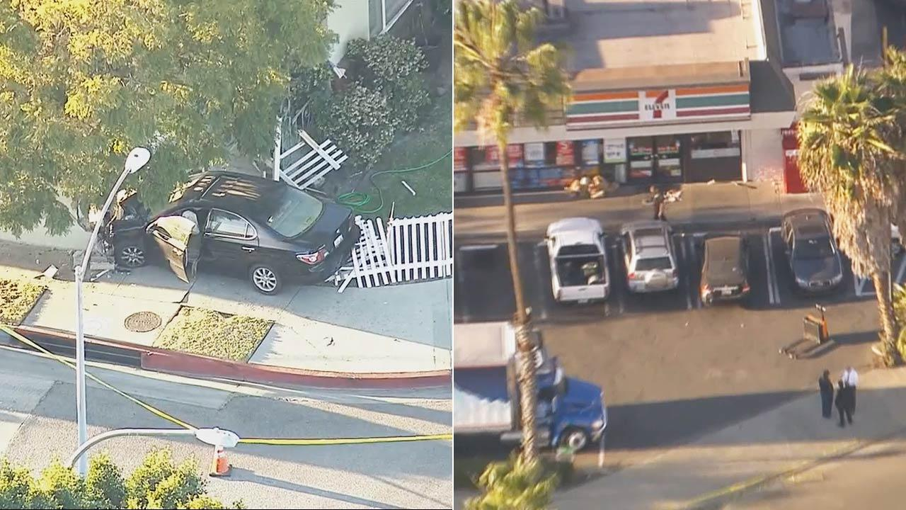 Culver City police officers shot a man who crashed a stolen car into a house and pointed a shotgun at them Friday afternoon.