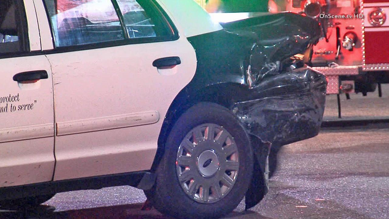 A Los Angeles Police Department patrol vehicle is shown after it was rear-ended by a suspected drunk driver on Tuesday, Jan. 21, 2014.