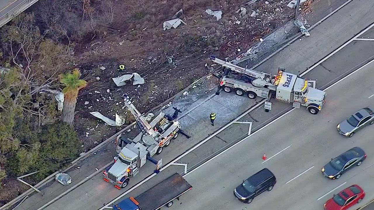 An overturned tanker closed down the eastbound 134 Freeway connector to the southbound 2 Freeway in Glendale on Wednesday, Feb. 5, 2014.