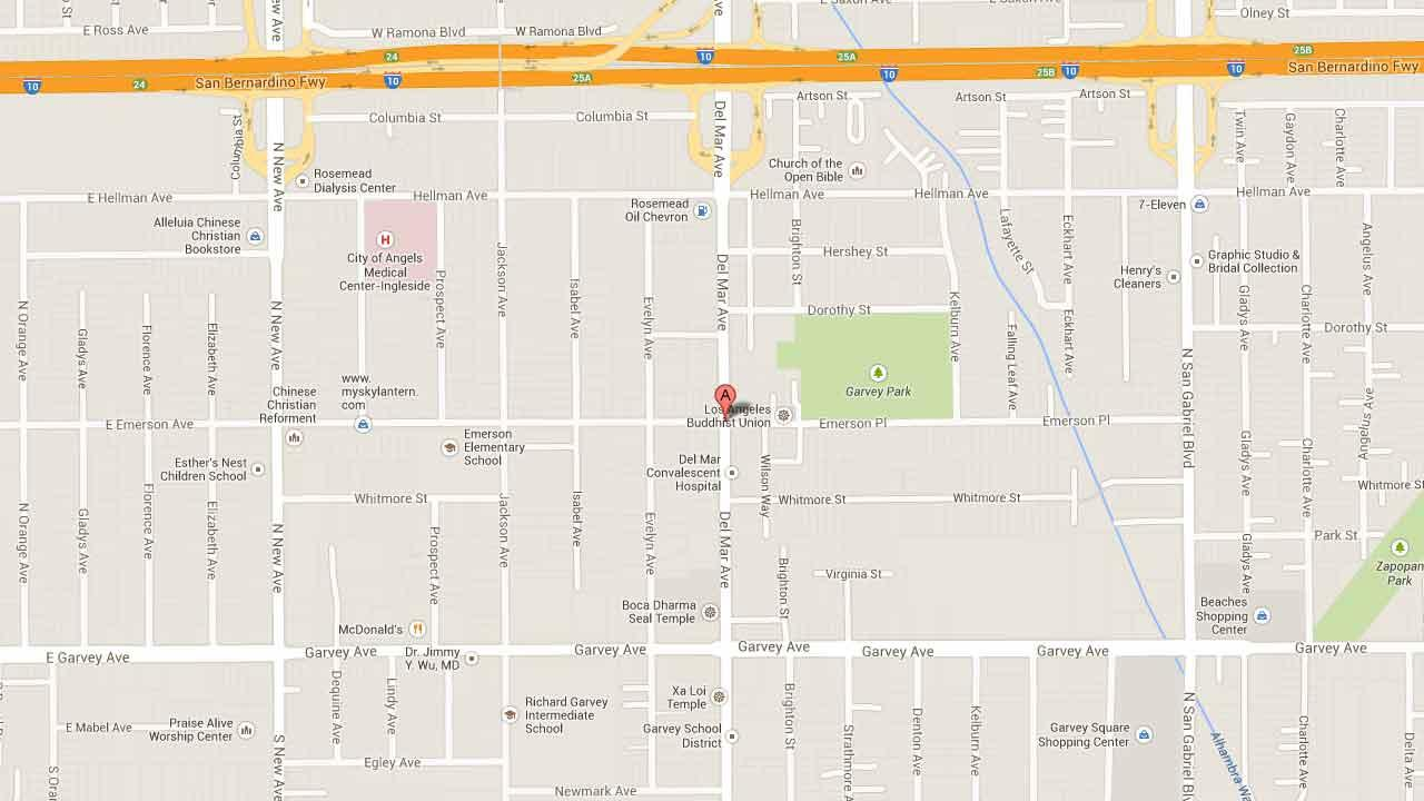 A map indicates the area near Del Mar Avenue and Emerson Place in Rosemead where Bin Zhang, 44, of San Gabriel allegedly tried to kidnap an 11-year-old boy in January of 2014.