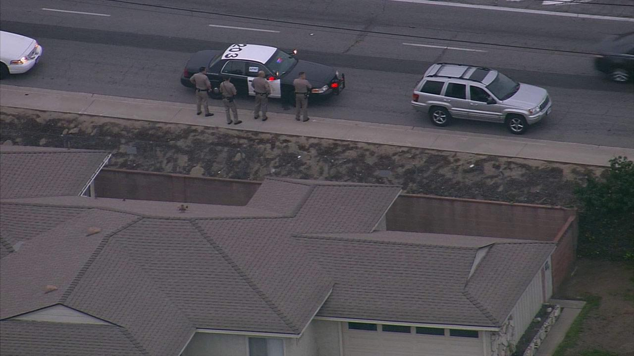 A police chase of a stolen vehicle ended in Downey on Tuesday, Feb. 18, 2014.