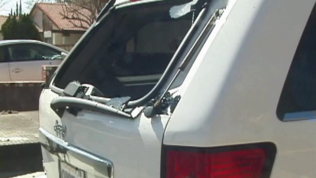 The window of a Jeep was shot out in Lancaster on Saturday, Feb. 22, 2014, in an apparent BB gun vandalism spree.