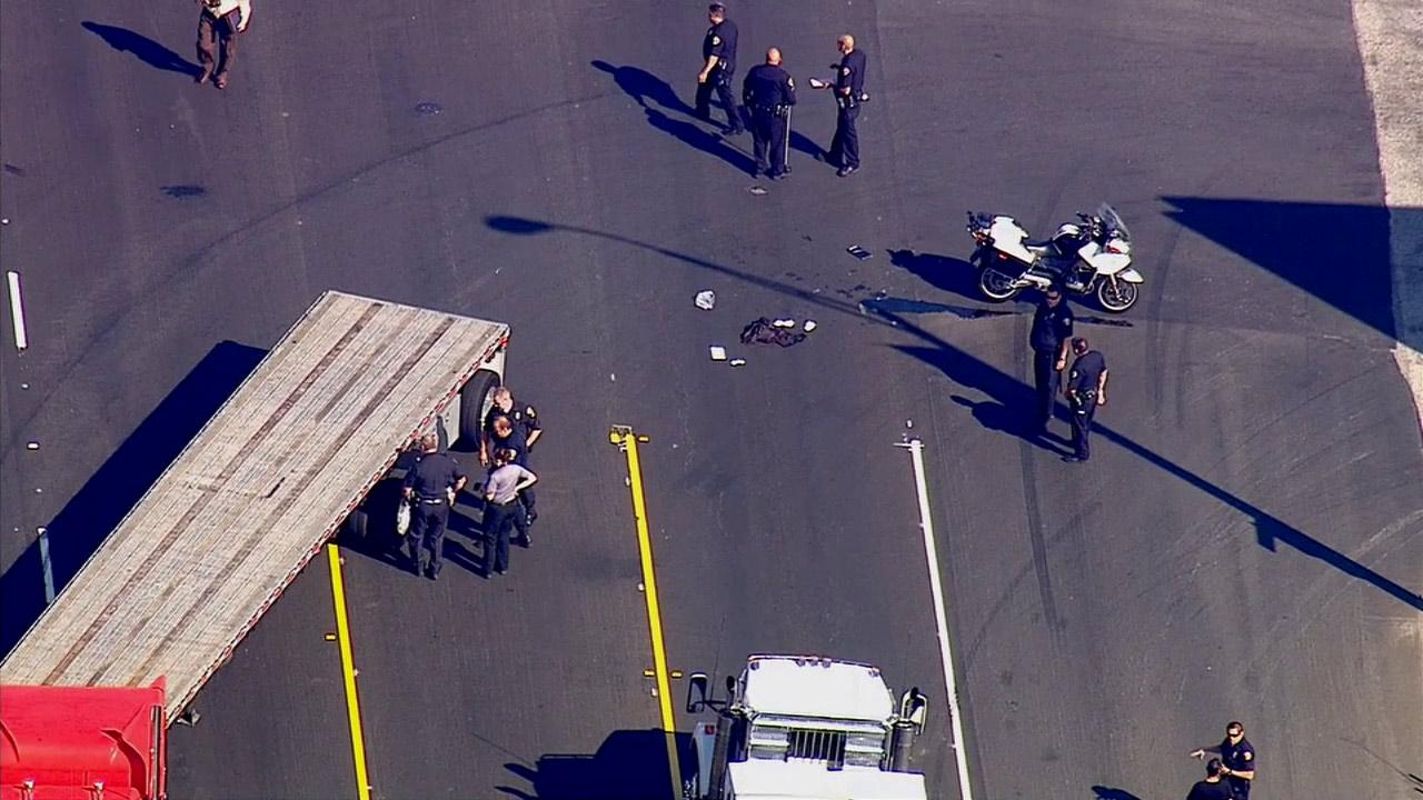 A Long Beach police motorcycle officer was injured in a traffic accident on Tuesday, Feb. 25, 2014.