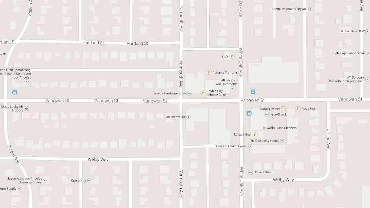 A map indicates the area near the Copper Bucket bar on the 17700 block of Vanowen Street in Reseda where a man was shot Sunday, March 2, 2014.