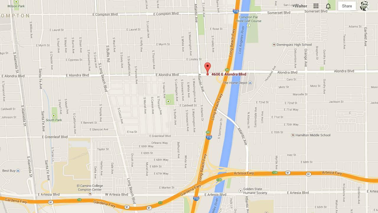 This Google Maps image shows the location of a fatal stabbing in the 4600 block of East Alondra Boulevard in Compton on Monday, March 3, 2014.