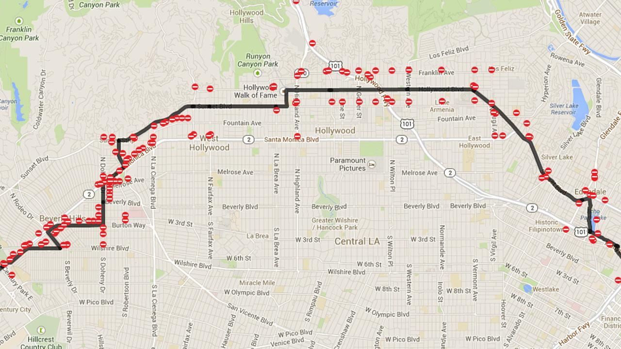 This Commuterama map indicates street closures for the ASICS LA Marathon on Sunday, March 9, 2014.
