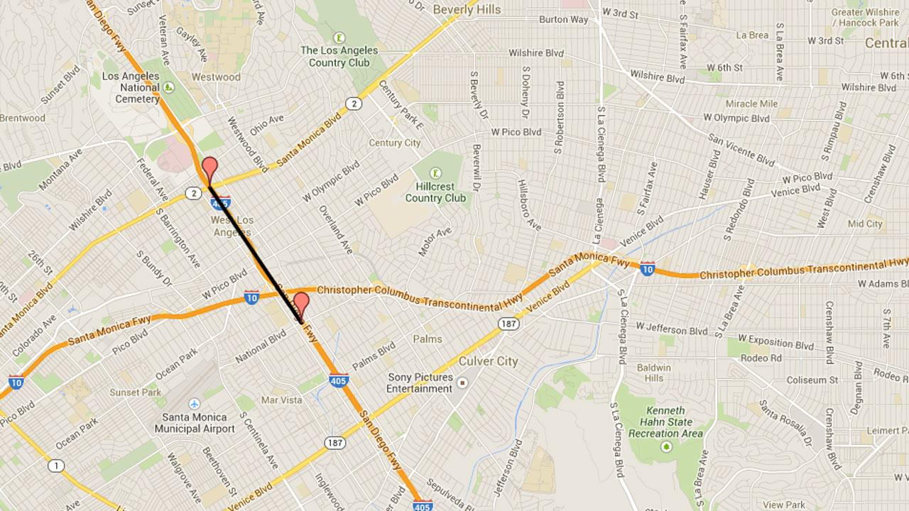 This Google Maps image shows the expected location of road closures on the southbound 405 Freeway between Santa Monica and National boulevards on Friday, March 14 and Sunday, March 16, 2014.