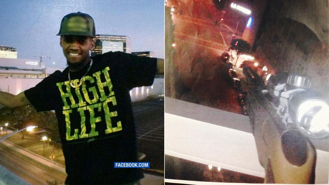 Left: Dakkari McAnuff is seen in a photo posted on his Facebook page. Right: A rifle is seen pointed at a Los Angeles street in this photo provided by LAPD.