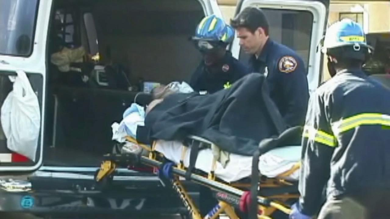 A Lancaster man suspected of shooting a gun during a domestic dispute was wounded in an exchange of gunfire with Los Angeles Sheriffs deputieson Sunday, March 16, 2014.