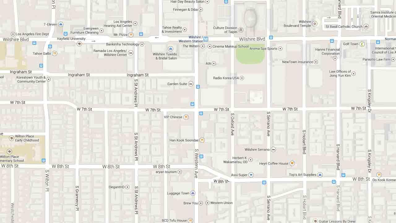 A map indicates the area near the intersection of Western Avenue and 7th Street in Koreatown where a female motorist was killed in a single-vehicle crash Sunday, March 23, 2014.