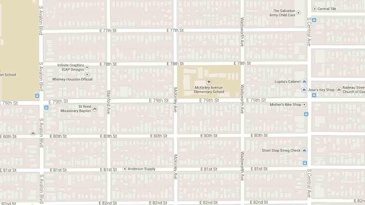 A map indicates the area near the intersection of McKinley Avenue and East 79th Street in the Florence area of Los Angeles where a womans body was found in a trash bin Friday, March 28, 2014.
