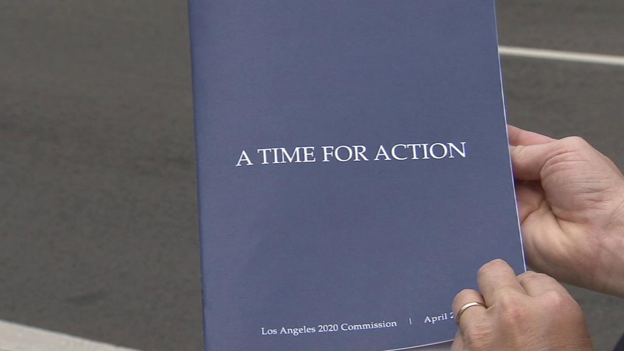 The cover of a report the Los Angeles 2020 Commission released on the economic state of the city on Wednesday, April 9, 2014.