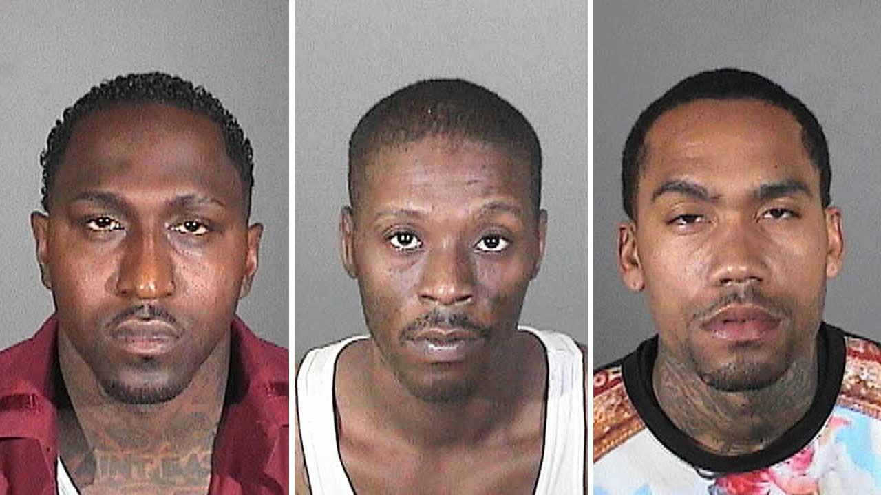 From left, Robert Walker, 31, Daniel Gunther, 34 and David Sheffey, 34 have been arrested on suspicion of operating a multi-million dollar prostitution ring in Compton.