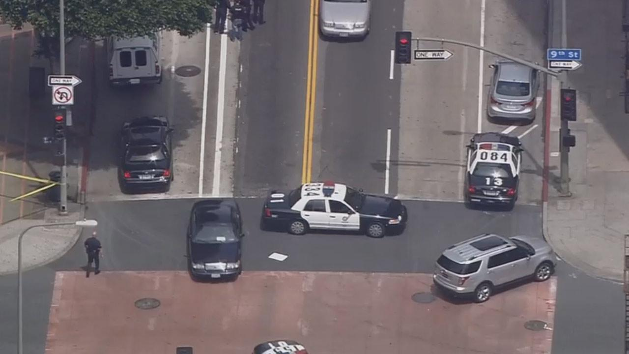 Hill Street and Broadway are closed between 8th and 9th streets due to a search for a kidnapping suspect downtown.