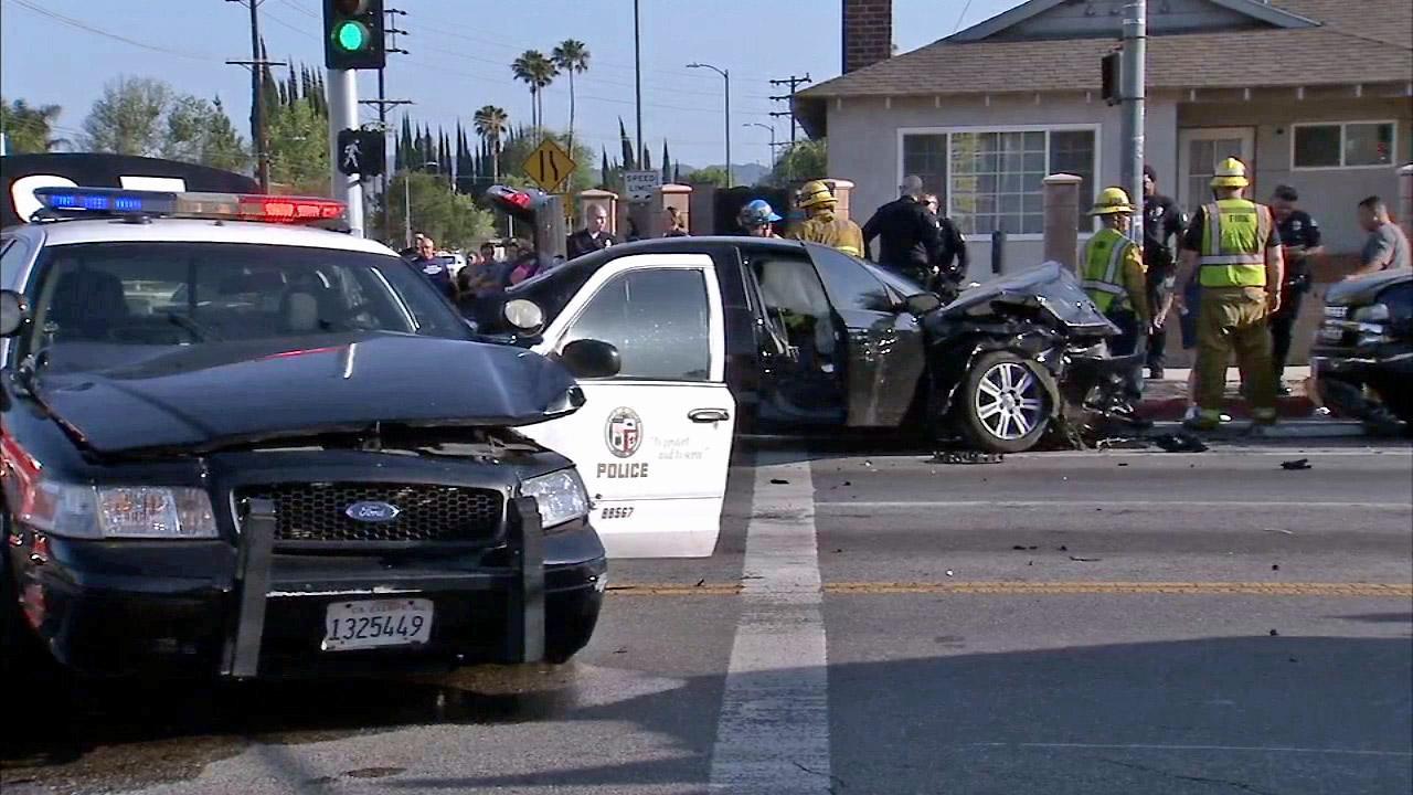 The scene of a three-car crash in Northridge involving an LAPD cruiser on Sunday, April 20, 2014.