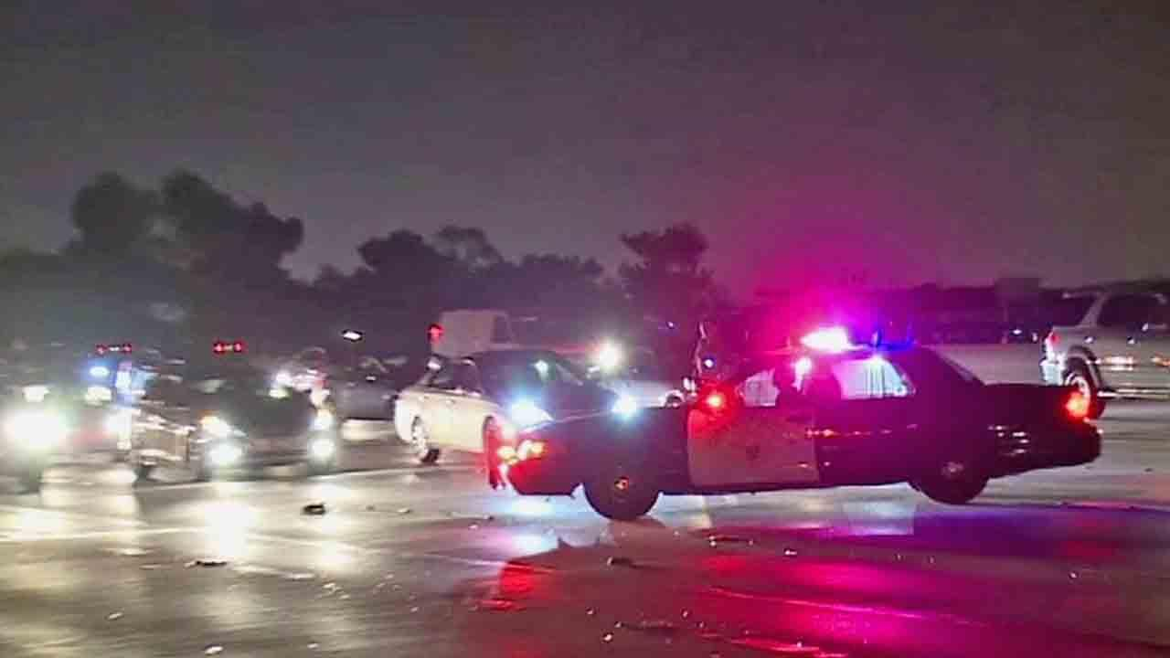 A person was struck and killed while running across the southbound 110 Freeway near Century Boulevard in South Los Angeles Sunday, April 27, 2014.