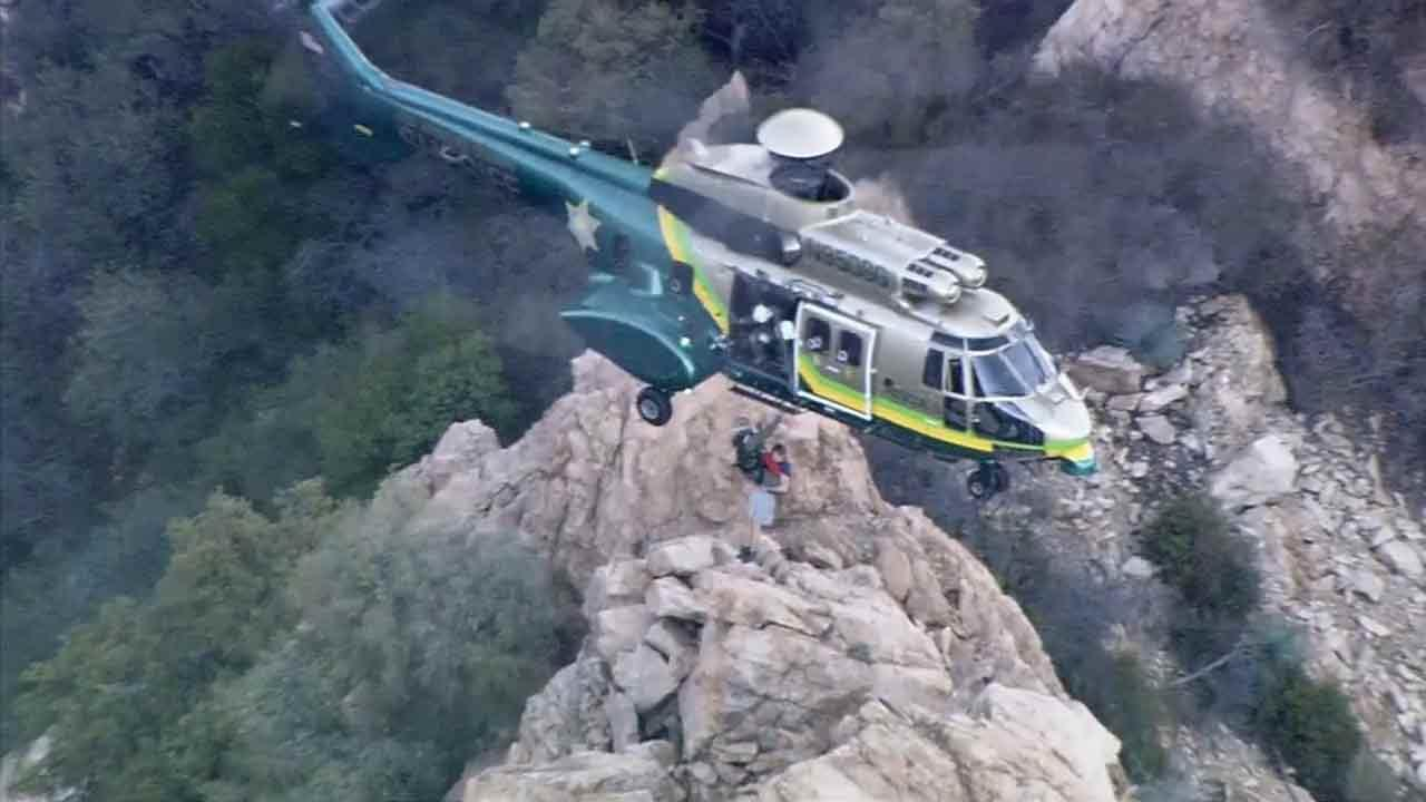 A hiker who became lost on Echo Mountain in the Angeles National Forest Sunday, April 27, 2014 was airlifted to safety Monday, April 28, 2014.