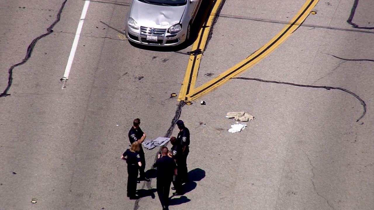 Fullerton police investigate a hit-and-run accident that left a bicyclist dead on Wednesday, July 12, 2012.