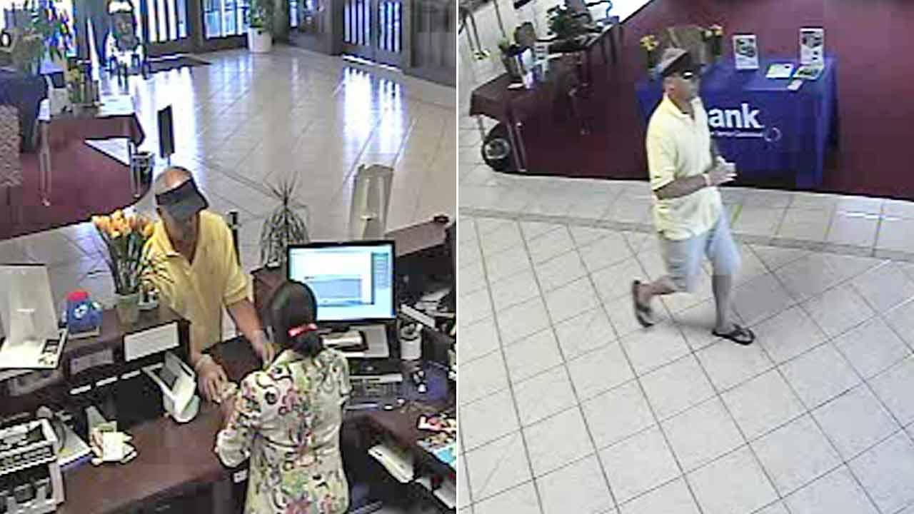 Huntington Beach Police released surveillance photos of a suspect who robbed a bank Friday, July 27, 2012.