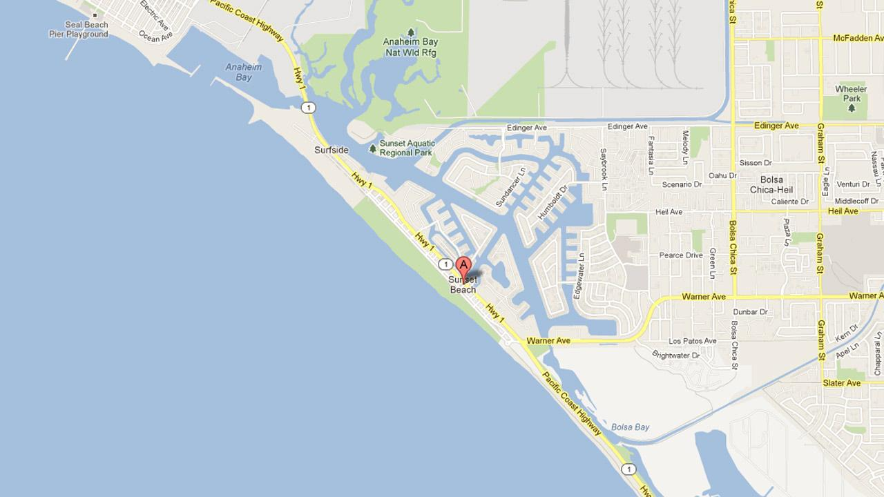 A map indicates the location of Huntington Harbour at Huntington Beach, Calif.
