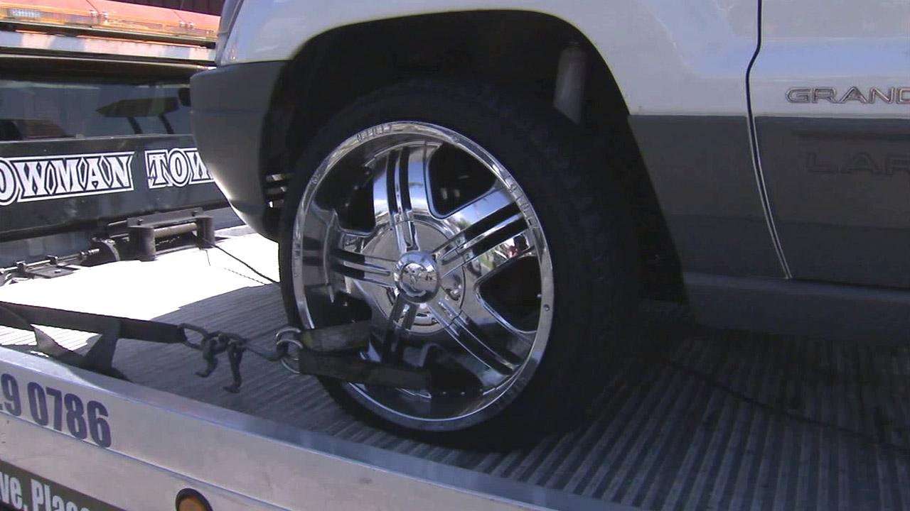At least a dozen drivers reported having their tires flattened while driving through a stretch of the 57 Freeway in Fullerton on Sunday, Aug. 12, 2012.