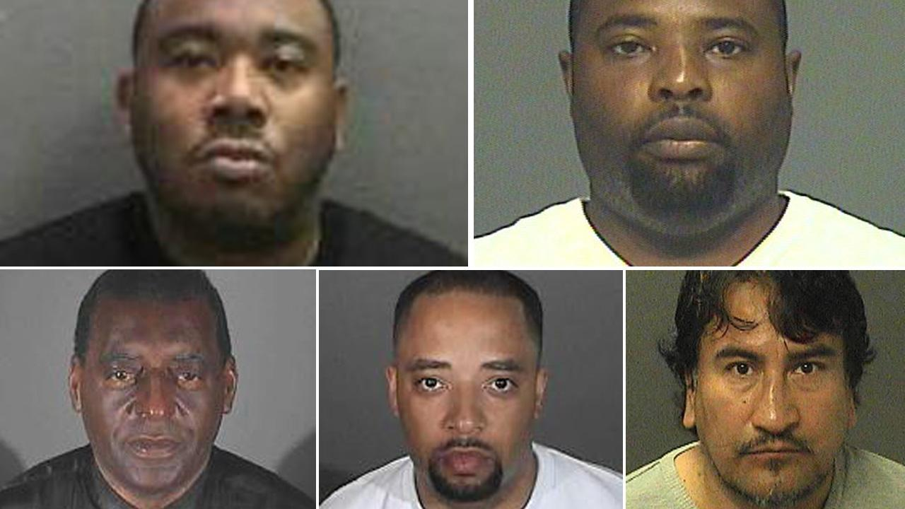 Authorities released these booking photos of suspects in an identity theft and bank fraud case. Top row (left to right): Deon Callis, Ken Trapp; Bottom row (left to right): Larry Mohhamed, Mauris Thompson, Leo Bardo Cantu