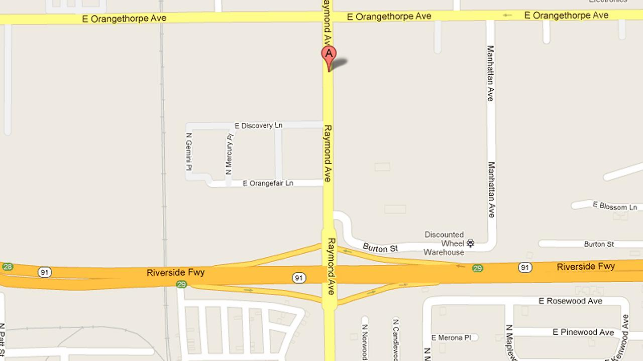 A map shows train tracks near Raymond Avenue and the 91 Freeway in Anaheim where a 17-year-old girl was struck and killed by a train on Friday, Sept. 14, 2012.
